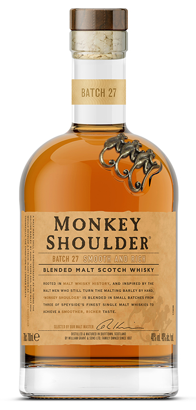 En flaska innehållande trippelmaltwhiskyn Monkey Shoulder.