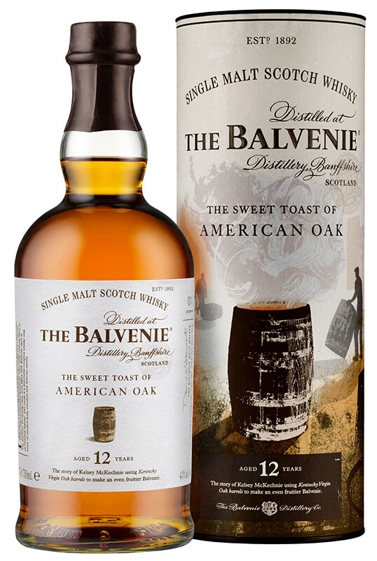 En flaska med whiskeyn Balvenie The Sweet Toast of American Oak 12 yo