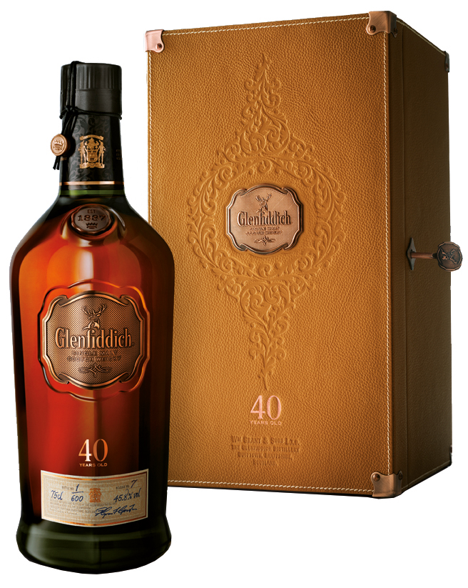 Glenfiddich 40 Years Old flaska med förpackning