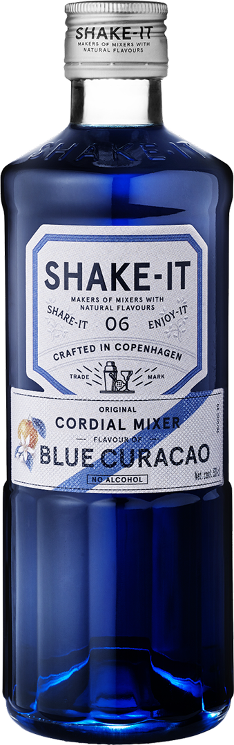 flaska med Shake-It Mixer Blue Curacao